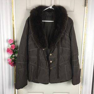 Elie Tahari Fox Fur Winter Jacket L